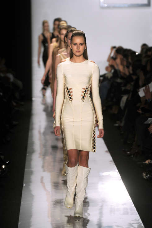 NEW YORK, NY - FEBRUARY 15:  A model walks the runway at the Herve Leger by Max Azria Fall 2011 fashion show during Mercedes-Benz Fashion Week at The Theatre at Lincoln Center on February 15, 2011 in New York City.  (Photo by Frazer Harrison/Getty Images for IMG)