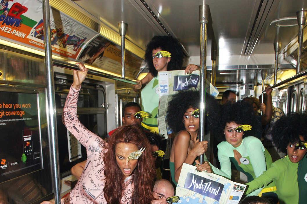 "EXCLUSIVE: Tyra Banks, inspired by her debut fantasy novel ""Modelland"", went to various locations throughout the city dressed as characters from the book, a 7-11, Ladder 7 firehouse, the number7 train at Grand Central etc. Later she headed to tape BET's 106 and Park. Tyra tossed a Slurpee on the models outside 7-11, etc. She rode the 7 train to the delight of passengers who got in on the photo shoot. <P> Pictured: Tyra Banks <P> <B>Ref: SPL299380  200711   EXCLUSIVE</B><BR/> Picture by: Lawrence Schwartzwald / Splash News<BR/> </P><P> <B>Splash News and Pictures</B><BR/> Los Angeles:310-821-2666<BR/> New York:212-619-2666<BR/> London:870-934-2666<BR/> photodesk@splashnews.com<BR/> </P>"