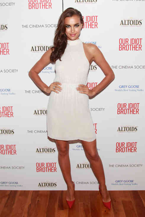 "Model Irina Shayk attends The Cinema Society & Altoids screening of the Weinstein Company's ""Our Idiot Brother"" on The Lawn at 1 MiMA Tower on August 22, 2011 in New York City."