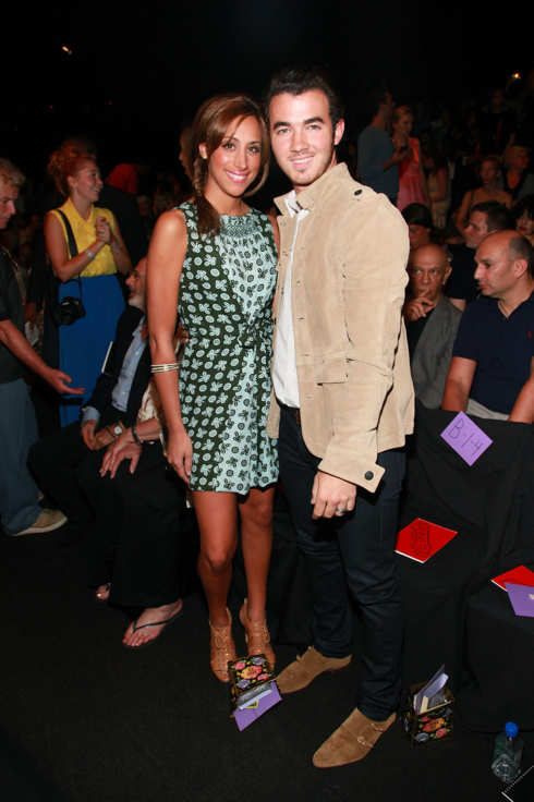 NEW YORK, NY - SEPTEMBER 14:  Danielle Deleasa (L) and Kevin Jonas attend the Anna Sui Spring 2012 fashion show during Mercedes-Benz Fashion Week at The Theater at Lincoln Center on September 14, 2011 in New York City.  (Photo by Astrid Stawiarz/Getty Images for Mercedes-Benz Fashion Week)