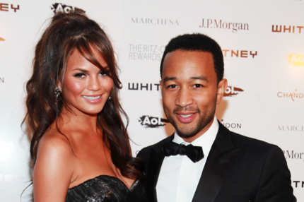 NEW YORK, NY - OCTOBER 05:  (L-R)  Chrissy Teigen and John Legend attend the 2011 Whitney Museum of American Art Studio Party at Hudson River Park's Pier 57 on October 5, 2011 in New York City.  (Photo by Astrid Stawiarz/Getty Images)