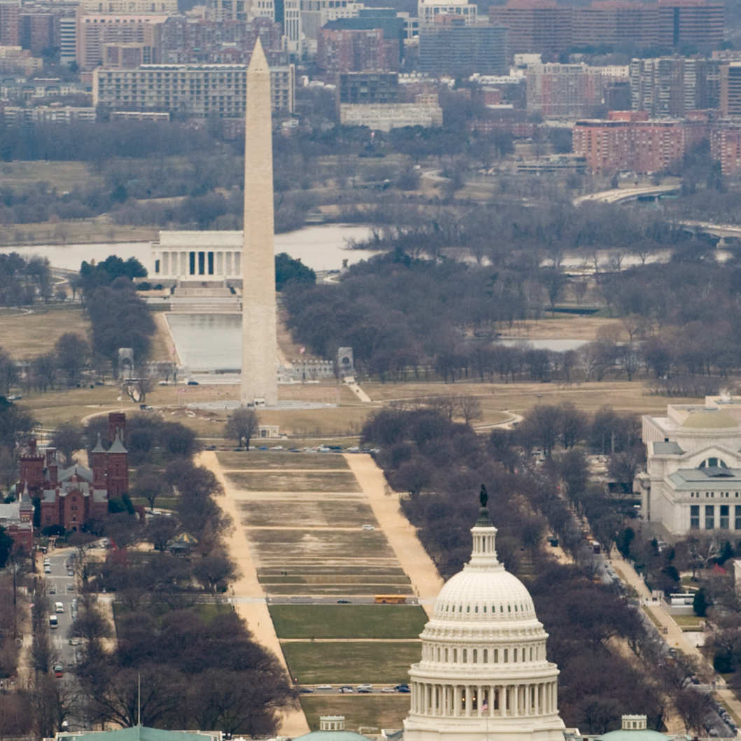 The skyline of Washington, DC, including the US Capitol building, Washington Monument, Lincoln Memorial and National Mall, is seen from the air, January 29, 2010.  AFP PHOTO / Saul LOEB (Photo credit should read SAUL LOEB/AFP/Getty Images)