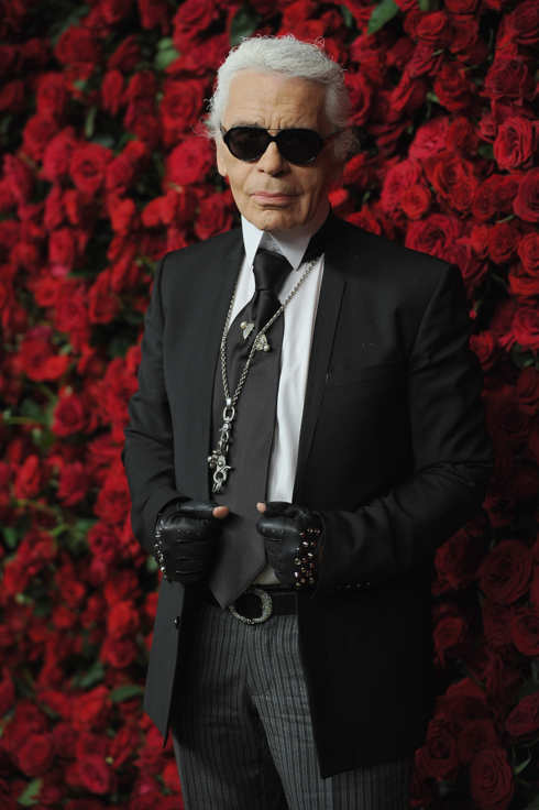 "NEW YORK, NY - NOVEMBER 15:  Designer Karl Lagerfeld attends the Museum of Modern Art's 4th Annual Film benefit ""A Tribute to Pedro Almodovar"" at the Museum of Modern Art on November 15, 2011 in New York City.  (Photo by Dimitrios Kambouris/Getty Images)"
