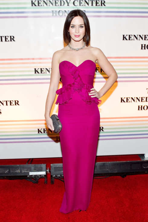 WASHINGTON, DC - DECEMBER 04:  Actress Emily Blunt arrives at the 34th Kennedy Center Honors at the Kennedy Center Hall of States on December 4, 2011 in Washington, DC.  (Photo by Paul Morigi/WireImage)