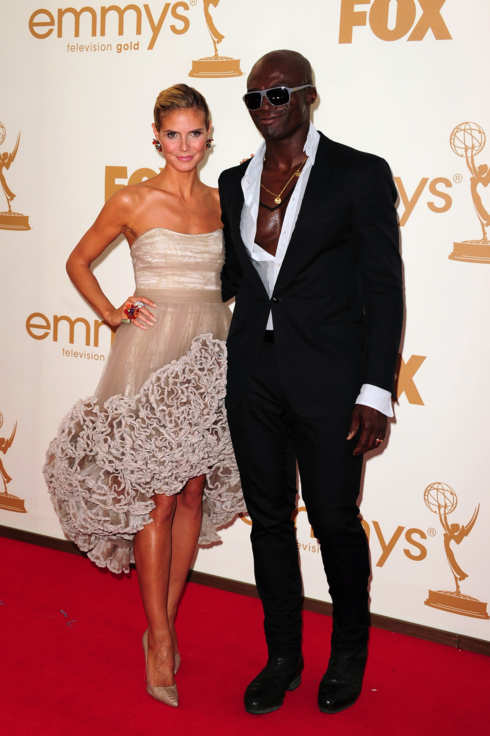 Model Heidi Klum and husband singer Seal arrive at the 63rd annual Primetime Emmy Awards at the Nokia Theatre at LA Live in downtown Los Angeles September 18, 2011.
