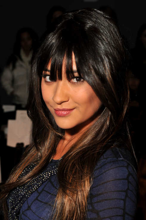 Actress Shay Mitchell attends the Lela Rose Fall 2012 fashion show