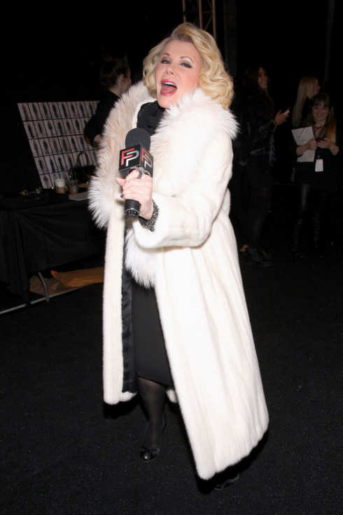 Joan Rivers backstage at the Badgley Mischka Fall 2012 fashion show