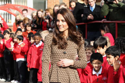 Catherine, Duchess of Cambridge meets children as she leaves Rose Hill Primary School during a visit to Oxford on February 21, 2012 in Oxford, England. The visit is in association with the charity Art Room who work with children to increase self-confidence and self-esteem.