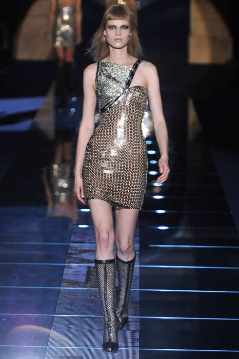 MILAN, ITALY - FEBRUARY 24:  A model walks the runway at the Versace Autumn Winter 2012 fashion show during Milan Fashion Week on February 24, 2012 in Milan, Italy.  (Photo by Chris Moore/Catwalking/Getty Images)