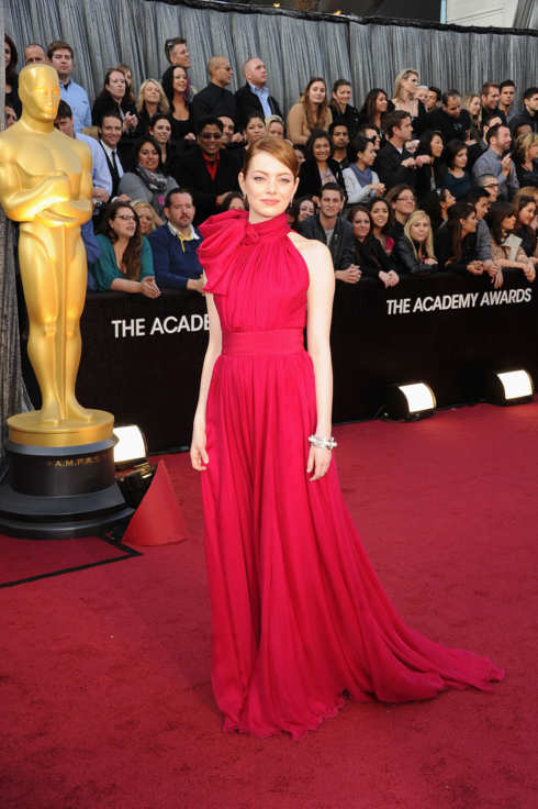 Actress Emma Stone arrives at the 84th Annual Academy Awards