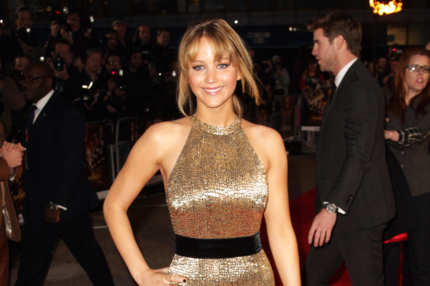 Jennifer Lawrence attends the European premiere of The Hunger Games