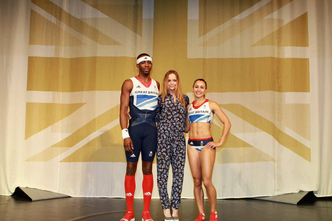 Triple jumper Phillips Idowu, creative designer Stella McCartney and Heptathlon athlete Jessica Ennis on stage at the official British team kit launch for the London 2012 Olympic and Paralympic Games.