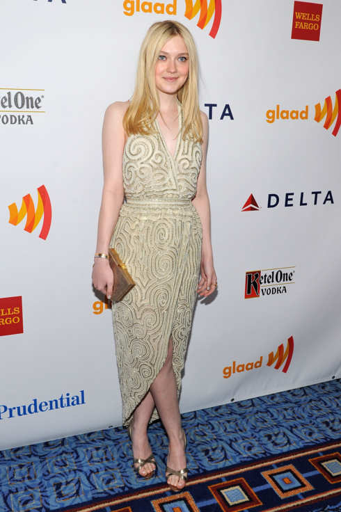 Actress Dakota Fanning attends the 23rd Annual GLAAD Media Awards at the Marriott Marquis Hotel on March 24, 2012 in New York City.