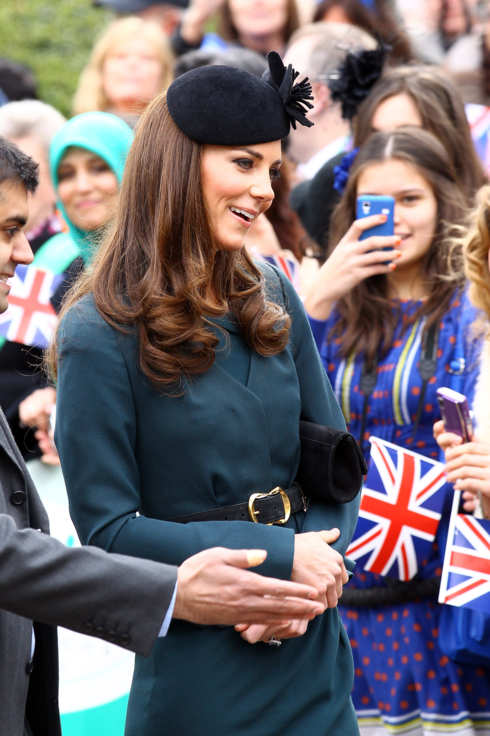 Catherine, Duchess of Cambridge speaks with the waiting crowd as she arrives at Leicester Cathedral on March 8, 2012 in Leicester, England. The royal visit to Leicester marks the first date of Queen Elizabeth II's Diamond Jubilee tour of the UK between March 8 and July 25, 2012.