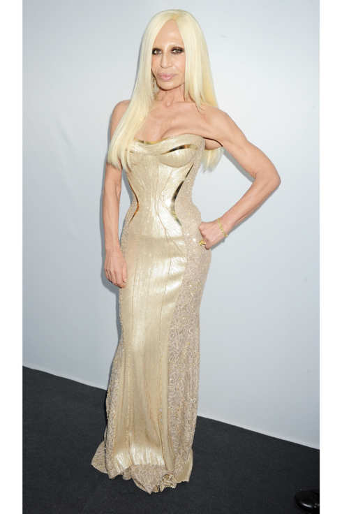 Donatella Versace arrives at the Glamour Women of the Year Awards in association with Pandora at Berkeley Square Gardens on May 29, 2012 in London, England.