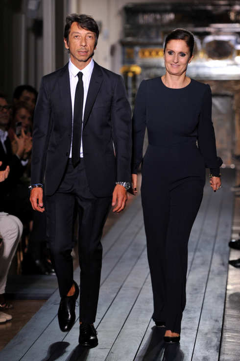 Designers Pier Paolo Piccioli and Maria Grazia Chiuri acknowledge the applause of the audience after the Valentino Haute-Couture show as part of Paris Fashion Week Fall / Winter 2012/13 at Hotel Salomon de Rothschild on July 4, 2012 in Paris, France.