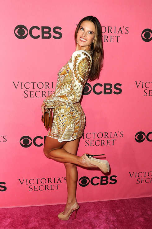 Model Alessandra Ambrosio arrives at the 2011 Victoria's Secret Fashion Show Viewing Party at the Samueli Theater, Segerstrom Center for the Arts  on November 29, 2011 in Costa Mesa, California.