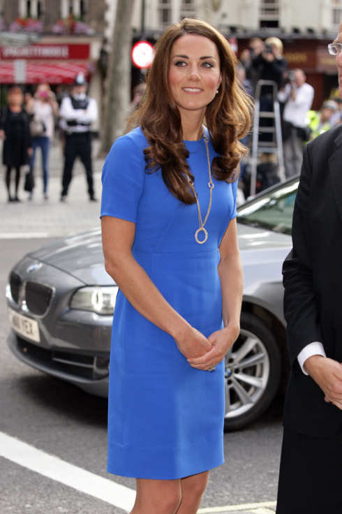 Catherine, Duchess of Cambridge in her role as patron, visits the 'Road to 2012: Aiming High' exhibition at the National Portrait Gallery on July 19, 2012 in London, England.