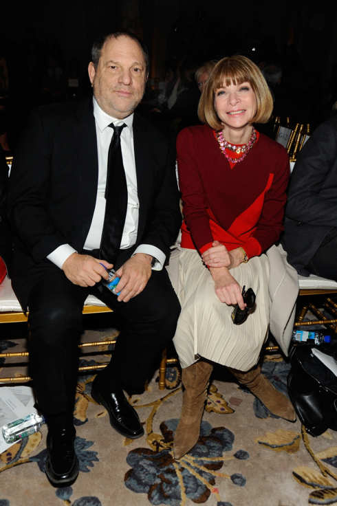Harvey Weinstein and Anna Wintour attend the Marchesa Fall 2012 fashion show during Mercedes-Benz Fashion Week at The Plaza Hotel on February 15, 2012 in New York City.