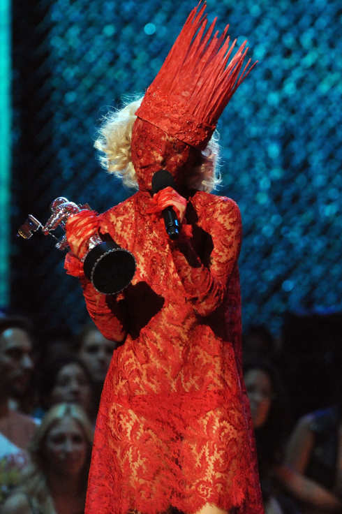 Lady Gaga accepts her award onstage during the 2009 MTV Video Music Awards at Radio City Music Hall on September 13, 2009 in New York City.