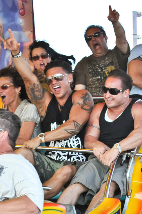 DJ Pauly D's mom and other family members joined him in Seaside Heights, NJ and went on rides in celebration of his birthday.