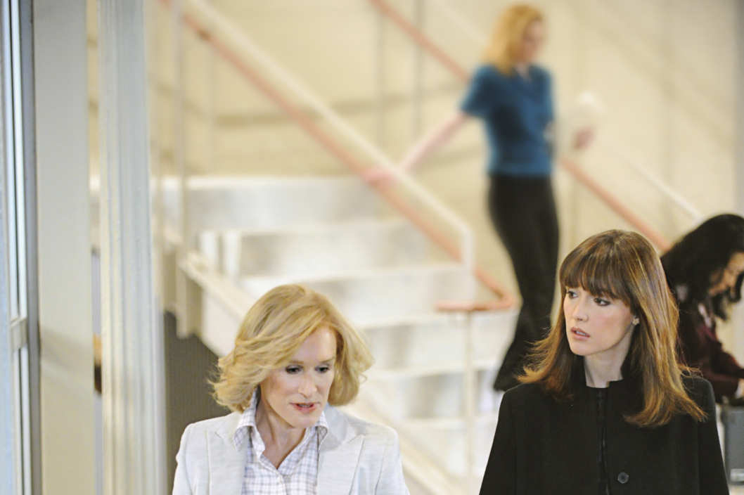 "Glenn Close and Rose Byrne are pictured during the production of ""Damages"" in New York on March 10, 2011. Photo: David M. Russell/Sony Pictures Television"