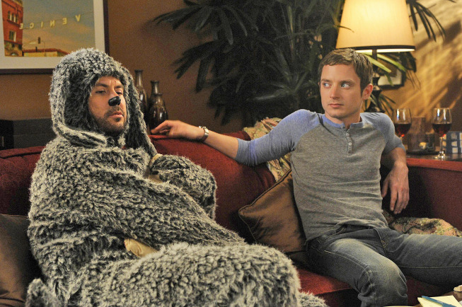 "WILFRED: L-R: Jason Gann and Elijah Wood in the WILFRED episode ""Conscience"" (Airs July 28, 10:00 pm e/p) on FX. CR: Ray Mickshaw / FX."