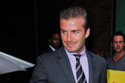 "NEW YORK, NY - JULY 25:  Professional soccer player David Beckham enters the ""Good Morning America"" taping at the ABC Times Square Studios on July 25, 2011 in New York City.  (Photo by Ray Tamarra/Getty Images)"