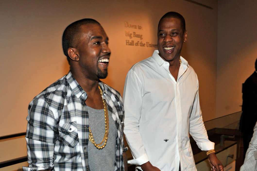 "NEW YORK, NY - AUGUST 01:  (EXCLUSIVE COVERAGE)  Kayne West and Jay-Z attend the exclusive listening event for the highly-anticipated release by Jay-Z and Kanye West,""Watch The Throne"" (Available August 8th) at the Hayden Planetarium at the American Museum of Natural History on August 1, 2011 in New York City.  (Photo by Kevin Mazur/WireImage)"