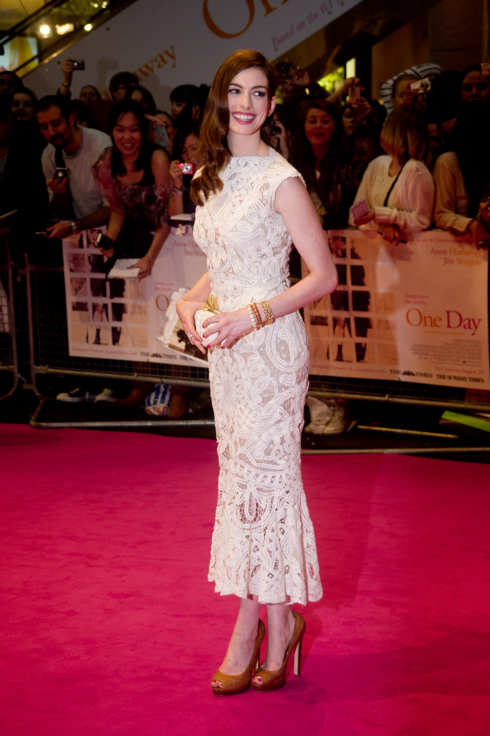 LONDON, ENGLAND - AUGUST 23: Anne Hathaway attends the European premiere of 'One Day' at Vue Westfield on August 23, 2011 in London, England. (Photo by Ian Gavan/Getty Images)