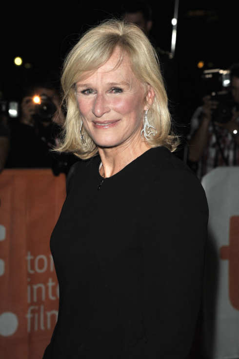 "TORONTO, ON - SEPTEMBER 11:  Actress/co-writer Glenn Close  poses on the red carpet at the premiere of ""Albert Nobbs"" at Roy Thomson Hall during the 2011Toronto International Film Festival on September 11, 2011 in Toronto, Canada.  (Photo by George Pimentel/WireImage)"