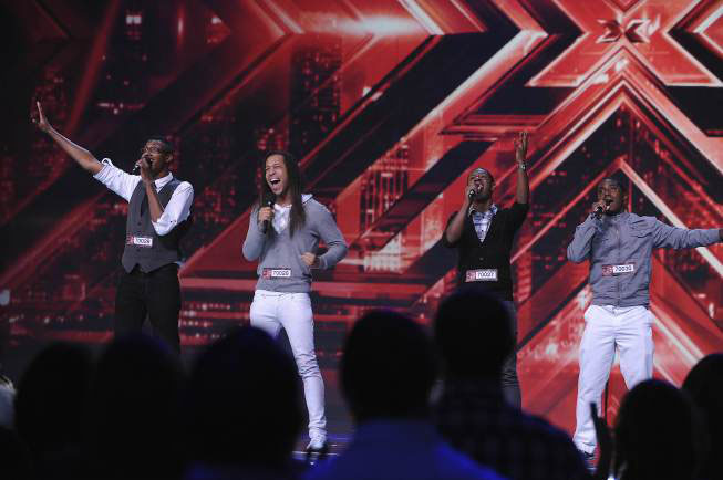THE X FACTOR: 4 Shore, from Virginia Beach, VA, performs in front of the judges and thousands of audience members on THE X FACTOR airing Wednesday, Sep. 28 (8:00-10:00 PM ET/PT) on FOX. CR: Ray Mickshaw / FOX