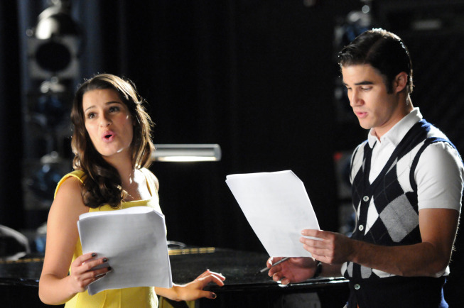 "GLEE: Rachel (Lea Michele, L) and Blaine (Darren Criss, R) rehearse for their performance in West Side Story in ""The First Time"" episode of GLEE airing Tuesday, Nov. 8 (8:00-9:00 PM ET/PT) on FOX. ©2011 Fox Broadcasting Co. Cr: Mike Yarishr/FOX"