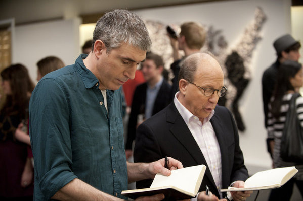 "WORK OF ART: THE NEXT GREAT ARTIST -- Episode 205 ""Ripped from the Headlines"" -- Pictured: (l-r) Adam McEwan, Jerry Saltz -- Photo by: David Giesbrecht /Bravo"