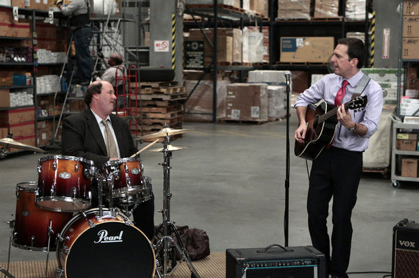 "THE OFFICE -- ""Pam's Replacement"" Episode 807 -- Pictured: (l-r) Brian Baumgartner as Kevin Malone, Ed Helms as Andy Bernard -- Photo by: Chris Haston/NBC"