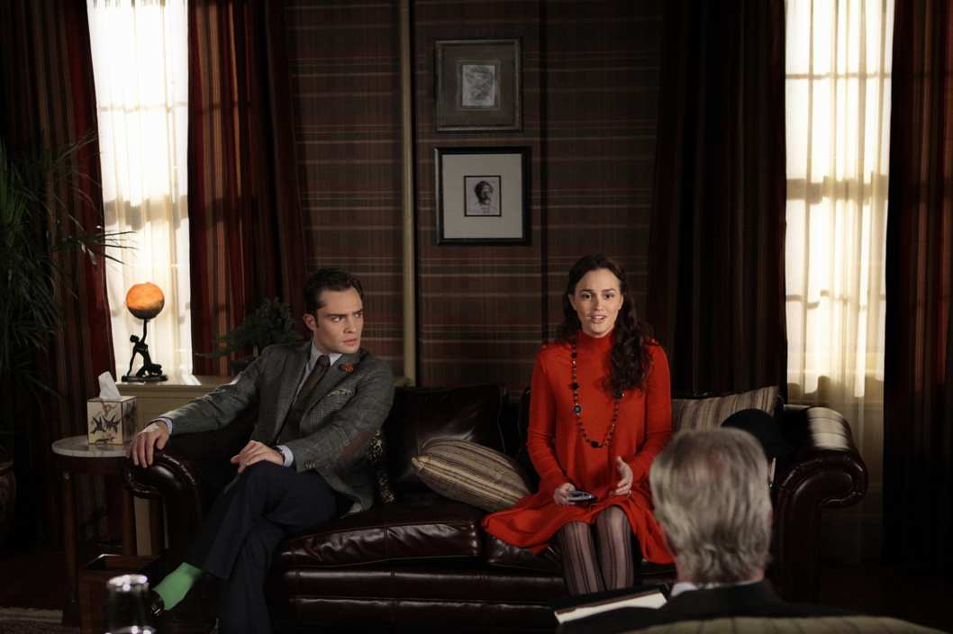 """RHODES TO PERDITION"""" GOSSIP GIRL Pictured (l-r) Ed Westwick as Chuck Bass and Leighton Meester as Blair Waldorf."
