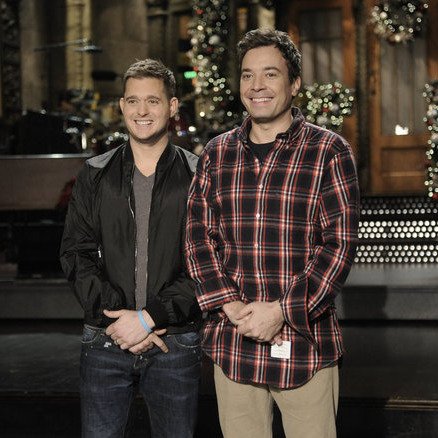 "SATURDAY NIGHT LIVE -- ""Jimmy Fallon"" Episode 1608 -- Pictured: (l-r) Michael Buble, Jimmy Fallon -- Photo by: Dana Edelson/NBC"