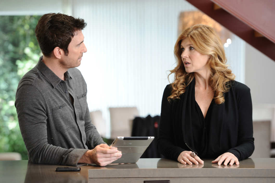 AMERICAN HORROR STORY: Episode 12: Afterbirth (Airs December 21, 10:00 pm e/p). L-R: Dylan McDermott and Connie Britton.