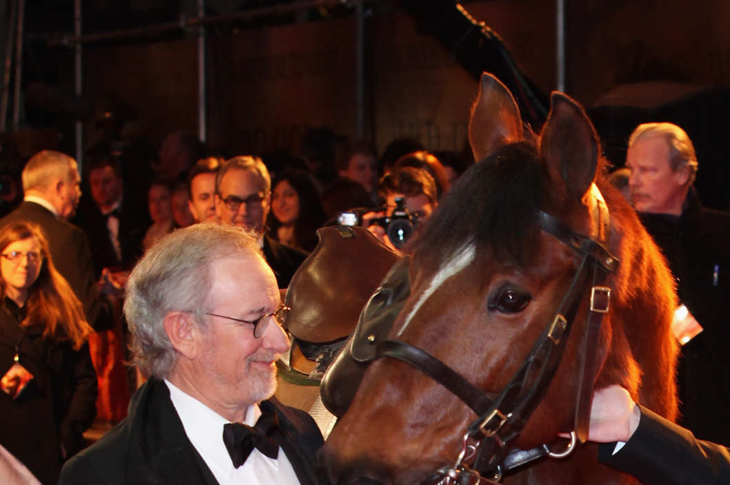 Director Steven Spielberg poses with Joey, the War Horse