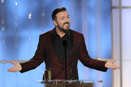 In this handout photo provided by NBC, host Ricky Gervais.
