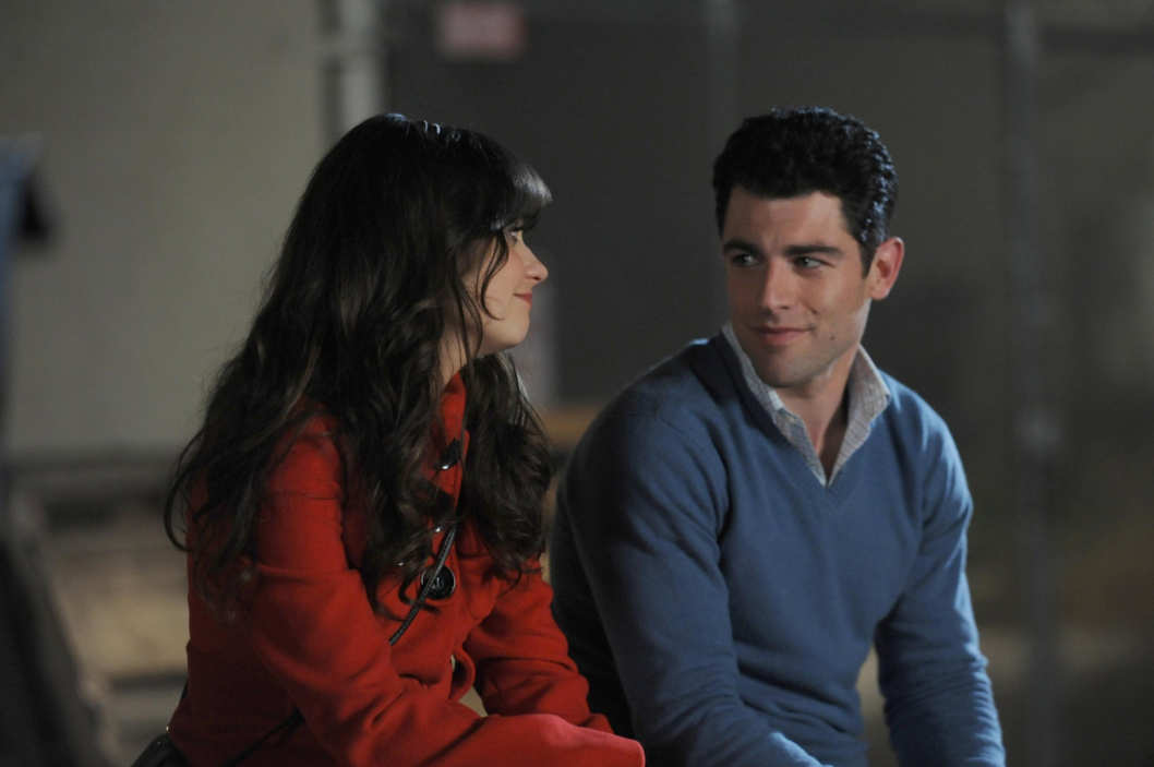 "Jess (Zooey Deschanel, L) and Schmidt (Max Greenfield, R) recap his birthday celebration in ""The Story of the 50"" Winter premiere episode of NEW GIRL, airing Tuesday, Jan. 17 (9:00-9:30 PM ET/PT) on FOX."