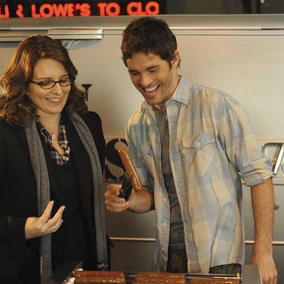 "30 ROCK -- ""Idiots Are People Three"" Episode 603 -- Pictured: (l-r) Tina Fey as Liz Lemon, James Marsden as Criss -- Photo by: Ali Goldstein/NBC"
