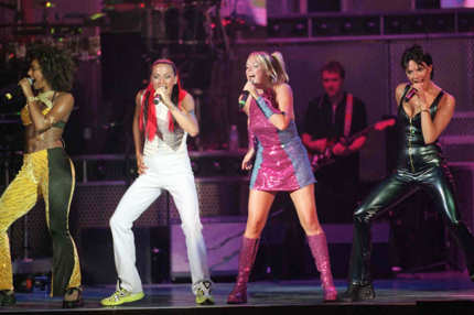 The Spice Girls (L to R) Melanie Brown, Melanie Chisholm, Emma Bunton and Victoria Adams