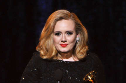 "LOS ANGELES, CA - FEBRUARY 12:  Singer Adele accepts the Best Pop Solo Performance Aweard for ""Someone Like You"" onstage at the 54th Annual GRAMMY Awards held at Staples Center on February 12, 2012 in Los Angeles, California.  (Photo by Kevin Winter/Getty Images)"