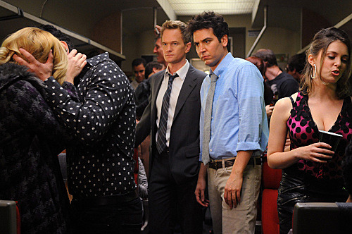 """The Drunk Train""  --  Barney (Neil Patrick Harris) and Ted (Josh Radnor) take a ride on ""the drunk train"" headed for Long Island, hoping to hook up, on HOW I MET YOUR MOTHER, Monday, Feb. 13 (8:00-8:30 PM, ET/PT) on the CBS Television Network."