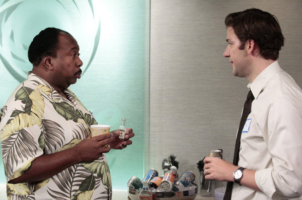 "THE OFFICE -- ""Tallahassee"" Episode 815 -- Pictured: (l-r) Leslie David Baker as Stanley Hudson, John Krasinski as Jim Halpert."