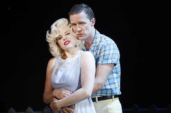"SMASH -- ""Mr. DiMaggio"" Episode 103 -- Pictured: (l-r) Megan Hilty as Ivy Lynn (as Marilyn Monroe)  and Will Chase as Michael Swift (as Joe DiMaggio)."