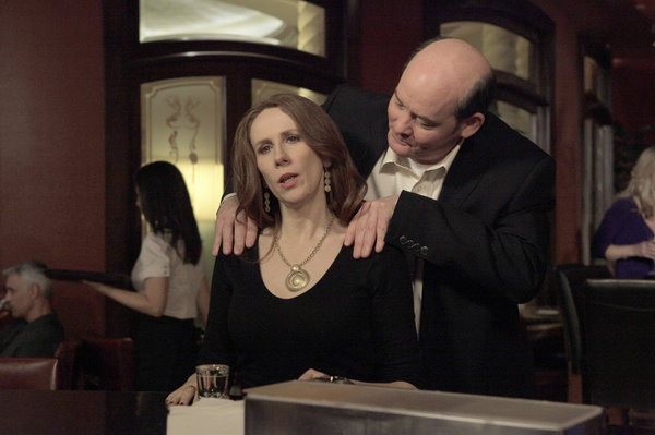 "THE OFFICE -- ""After Hours"" Episode 816 -- Pictured: (l-r) Catherine Tate as Nellie Bertrum, David Koechner as Todd Packer."