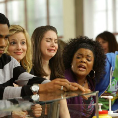 "COMMUNITY -- ""Contemporary American Poultry"" Episode 123 -- Pictured: (l-r) Donald Glover as Troy, Gillian Jacobs as Britta, Alison Brie as Annie, Yvette Nicole Brown as Shirley, Danny Pudi as Abed"