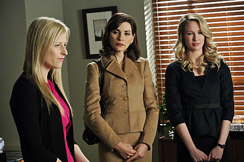 """After the Fall""--Alicia (Julianna Margulies, center) and Caitlin (Anna Camp, right) face off in court against Nancy Crozier (Mamie Gummer, left), on THE GOOD WIFE, Sunday, March 4 (9:00-10:00 PM ET/PT) on the CBS Television Network. Photo: John P. Filo/CBS ????2012 CBS Broadcasting Inc. All Rights Reserved."